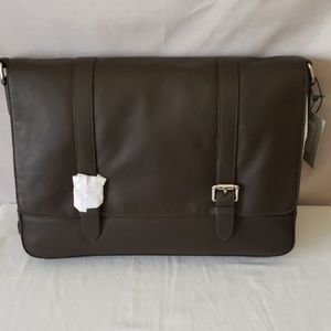 Cole Haan Smooth Leather Dark Brown Messenger Bag